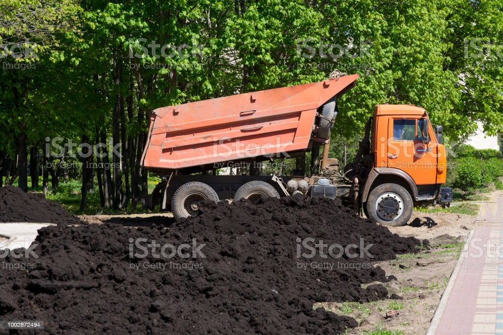 car dumper unloads the black earth on the flowerbed in city park