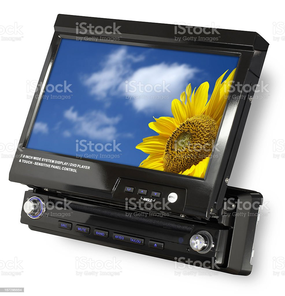 Car DVD/CD receiver with 7' wide LCD (clipping path) stock photo