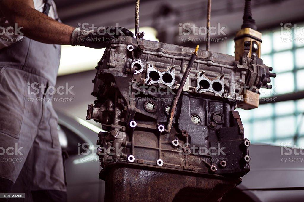 Car engine at mechanic stock photo