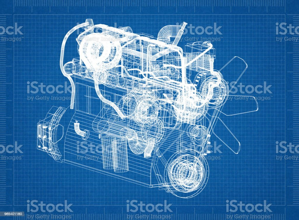 Car Engine blueprint zbiór zdjęć royalty-free