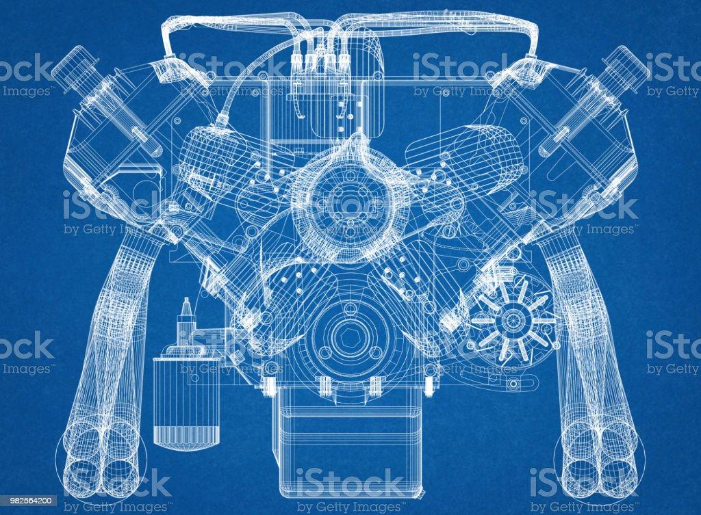 Auto Motor Design Architekt Blueprint – Foto