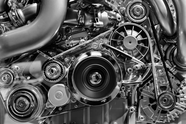 Car engine detail Car engine, concept of modern vehicle motor with metal, chrome details, automobile industry, monochrome vehicle part stock pictures, royalty-free photos & images