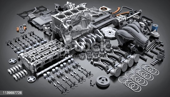 Car engine disassembled. Many motor parts. 3d illustration