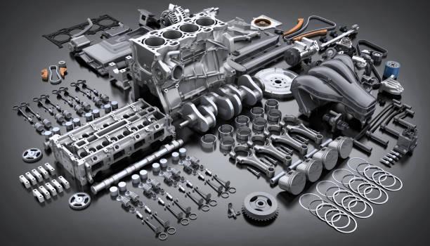 motor del coche desmontado. muchas partes. - mecánico fotografías e imágenes de stock