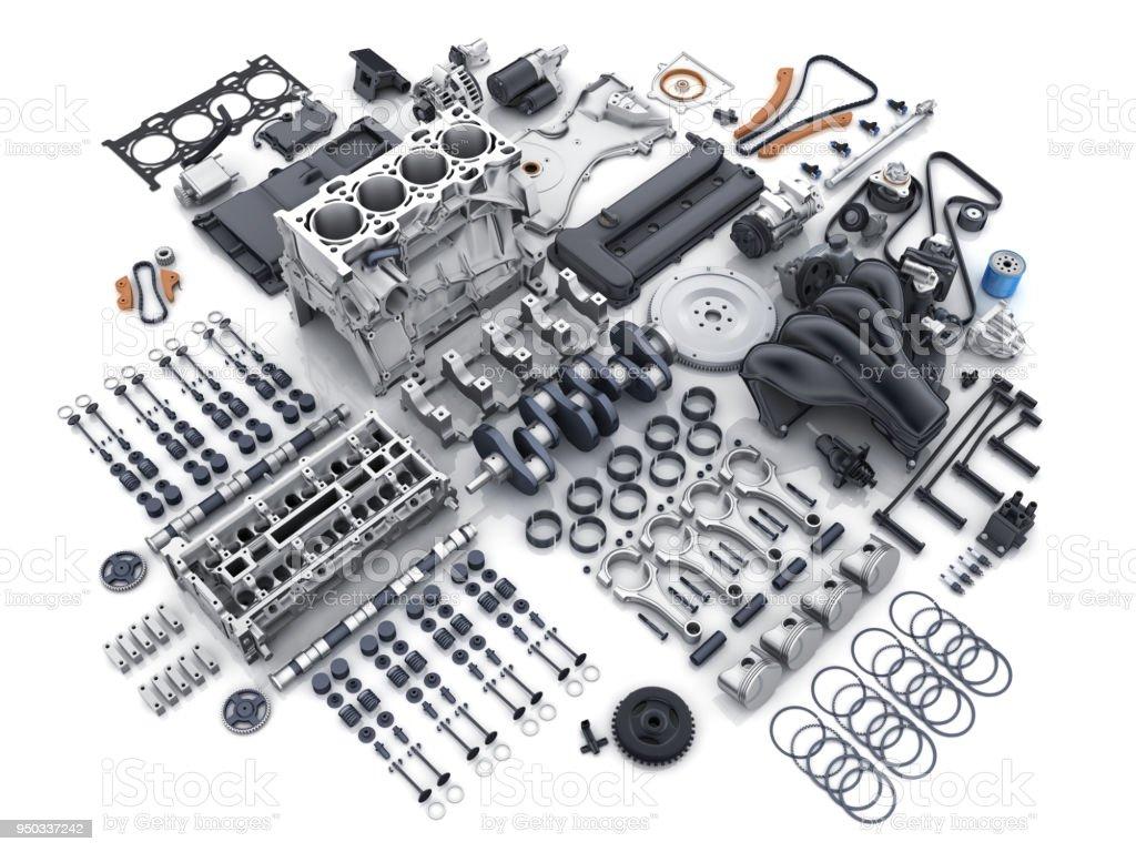 Automotor Demontiert Viele Teile Stock-Fotografie und mehr Bilder ...