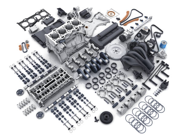 Car engine disassembled. many parts. Car engine disassembled. Many parts on white background. 3d illustration vehicle part stock pictures, royalty-free photos & images