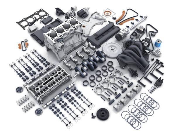 Automotor demontiert. viele Teile. – Foto