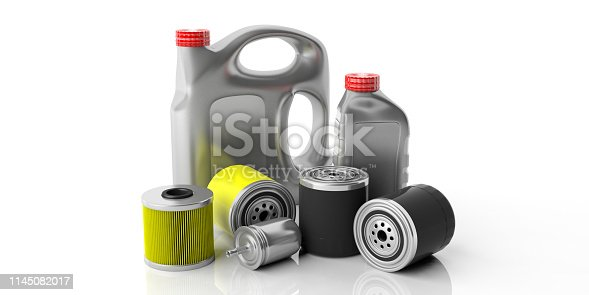 Car service spare parts. Engine oil and fuel filters and motor oil canisters isolated against white background. 3d illustration