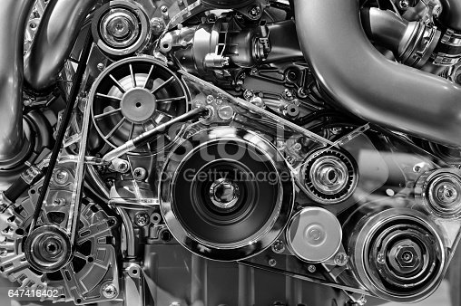 istock Car engine in monochrome 647416402