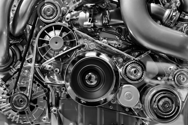 Car engine in monochrome stock photo
