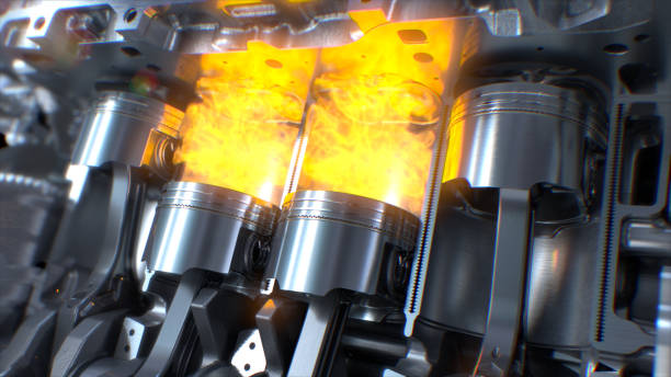 Car Engine inside Car Engine inside, Engine pistons, valves and crankshaft, Piston ignition time. engine with explosions and sparks inside. biofuel stock pictures, royalty-free photos & images