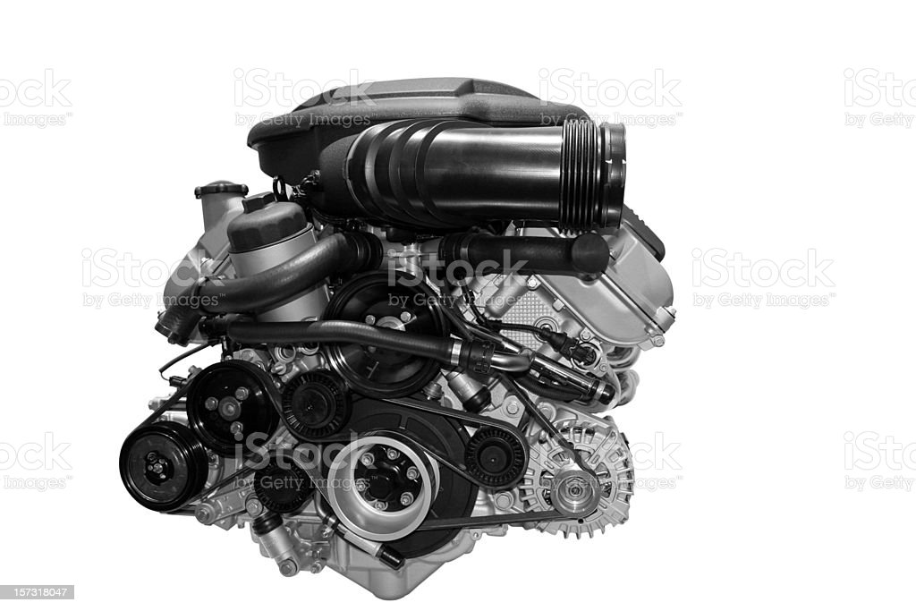 Car engine isolated on white royalty-free stock photo