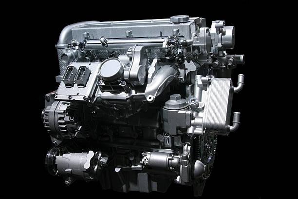 Car engine on black stock photo