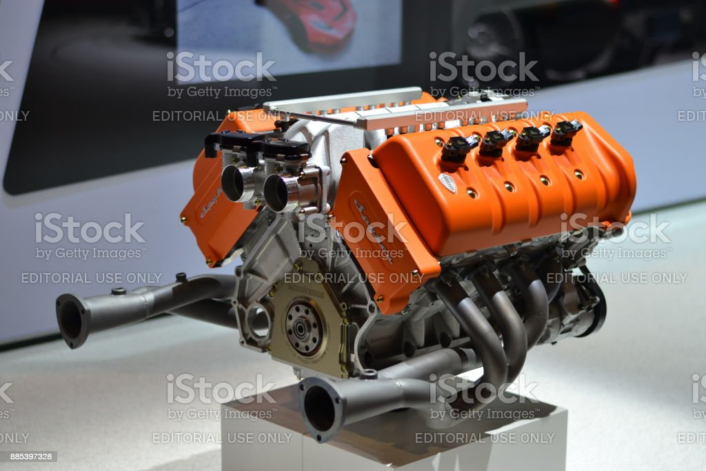 V8 car engine on the motor show stock photo
