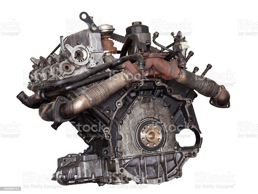 Car engine on white background stock photo