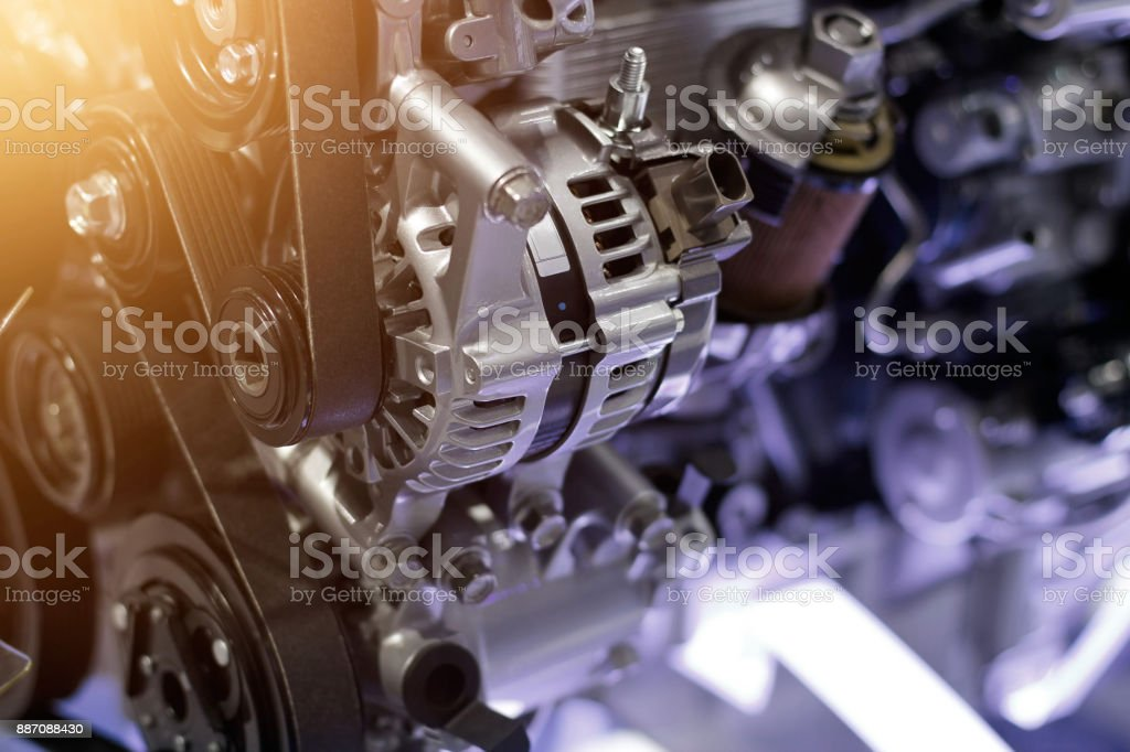 Car engine part, concept of modern vehicle motor and cut metal car engine part details stock photo