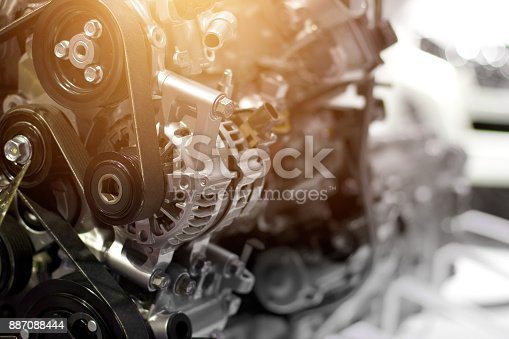 istock Car engine part, concept of modern vehicle motor and cut metal car engine part details 887088444