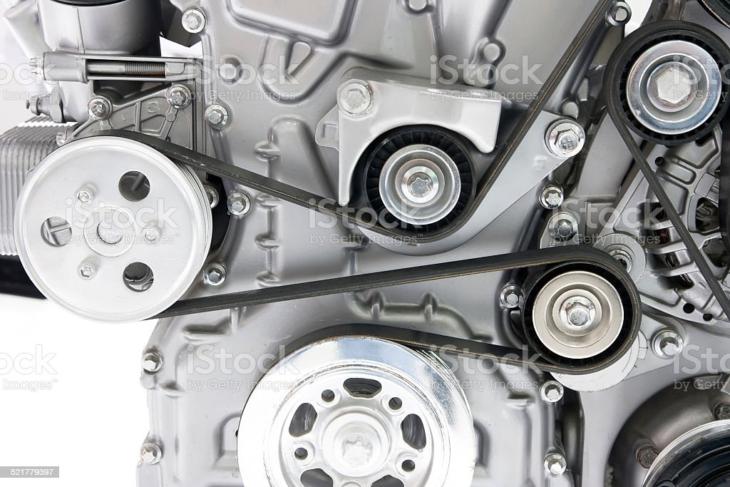 Car engine part Car engine part Belt Stock Photo