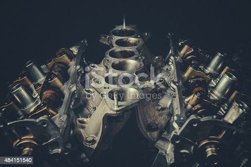 V8 Car Engine Parts Closeup. Stock photo