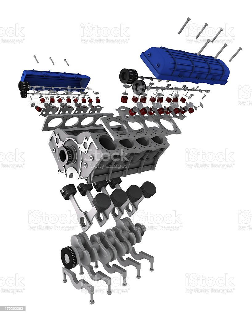 Car engine parts - exploded view stock photo