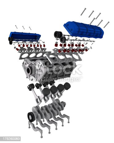 car engine parts exploded view stock photo more pictures. Black Bedroom Furniture Sets. Home Design Ideas