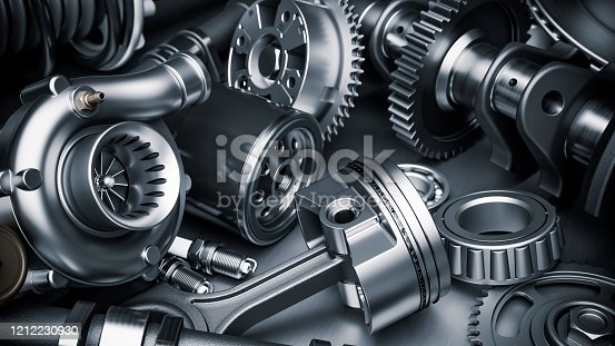 Car engine parts. Closeup 3d render