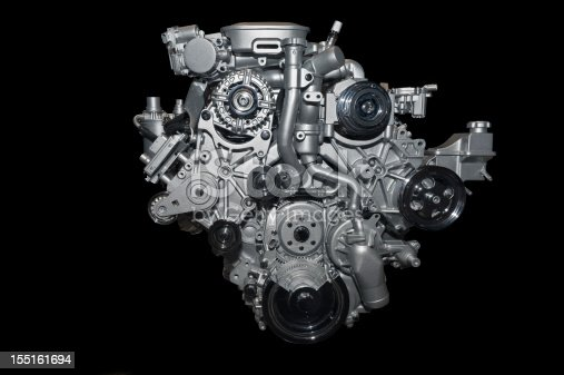 Car engine, isolated on pure black