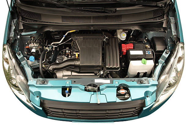 Car engine A Japanese compact car with engine bay exposed. vehicle hood stock pictures, royalty-free photos & images