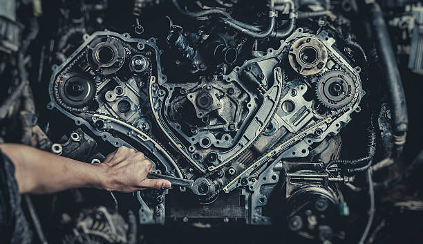v8 car engine - mechanic stock photos and pictures