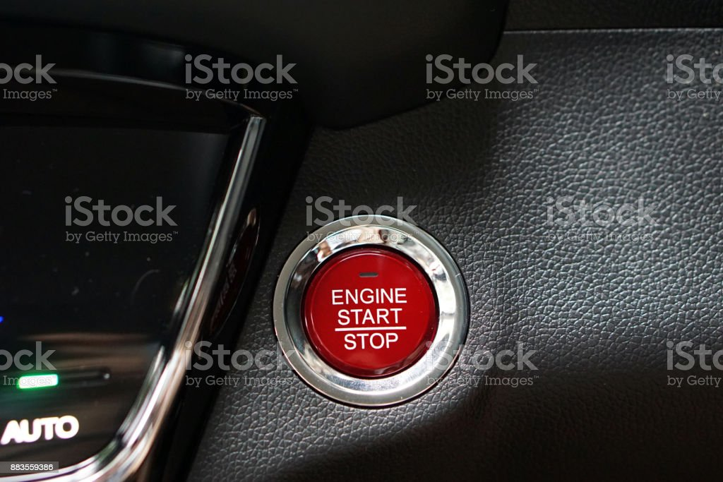 Car Engine Push Start Stop Button Ignition Remote Starter Symbol And