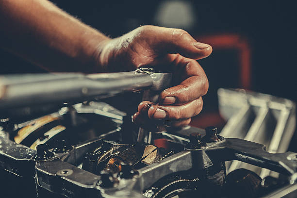V8 Car Engine Repair V8 Car Engine repair. Stock photo adjustable wrench stock pictures, royalty-free photos & images