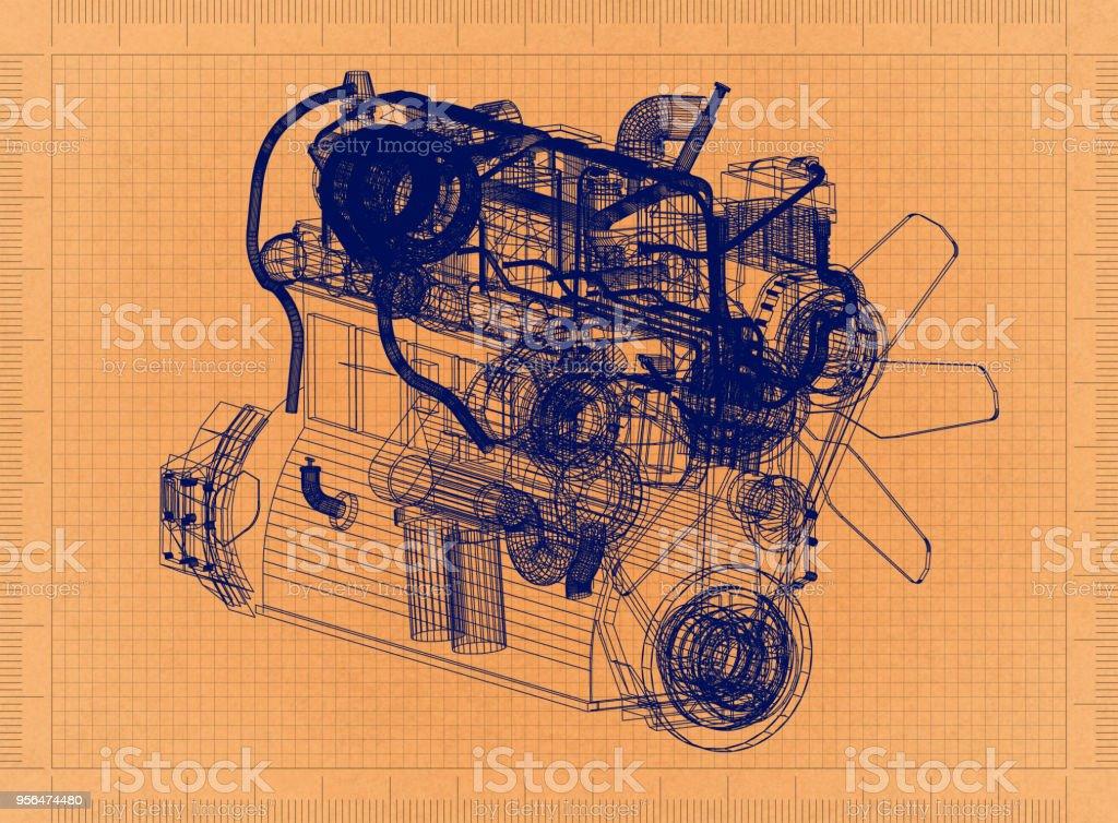 Car Engine   Retro Blueprint Royalty Free Stock Photo