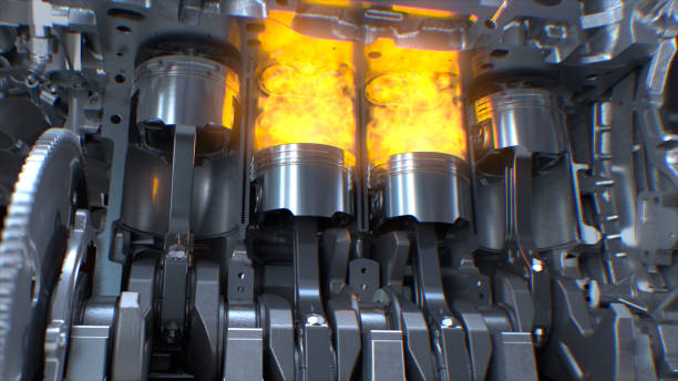 Car engine with explosions and sparks. Car Engine inside, Engine pistons, valves and crankshaft, Piston ignition time. piston stock pictures, royalty-free photos & images
