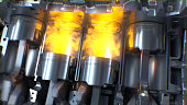 istock Car engine with explosions and sparks. 1161430585