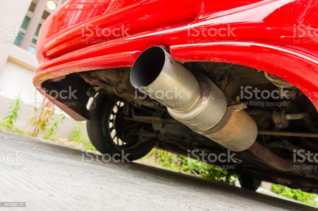 Car exhaust stock photo