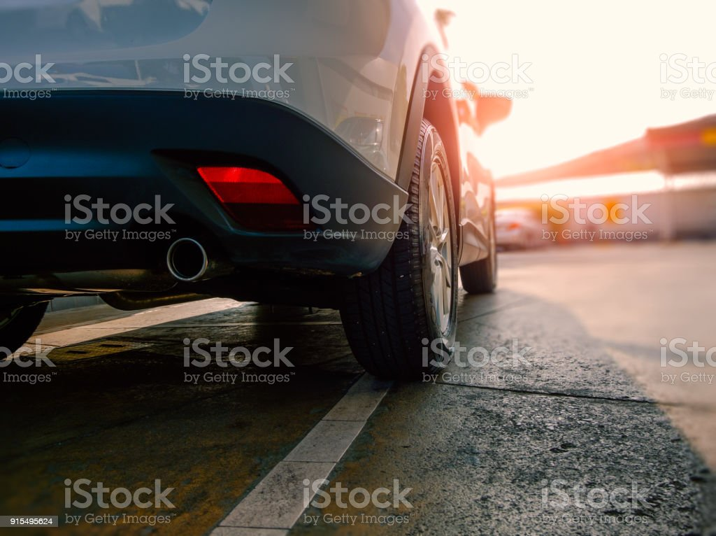 Car exhaust pipe of modern car stock photo