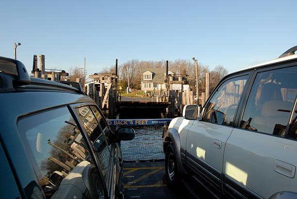 Car ferry docking stock photo