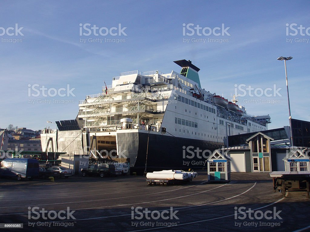 car ferry loading up at the terminal, Bergen, Norway royalty-free stock photo