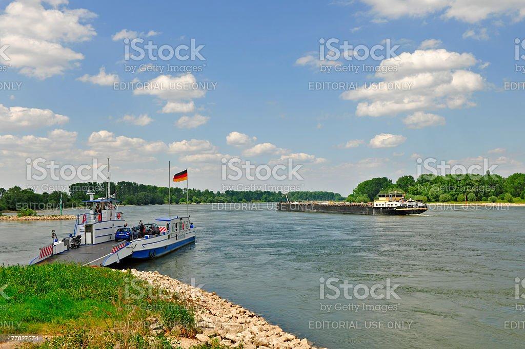 Car ferry Niederrhein in Zons stock photo
