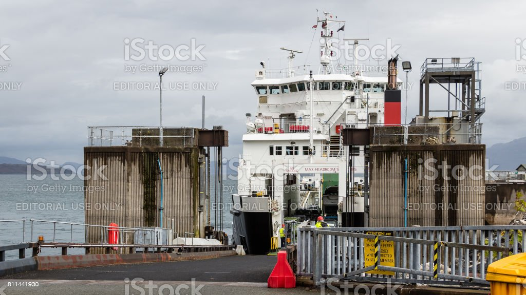 Car ferry ready to unload in Armadale,  Scotland stock photo