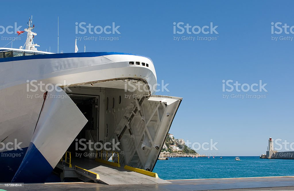 Car ferry waiting to load stock photo