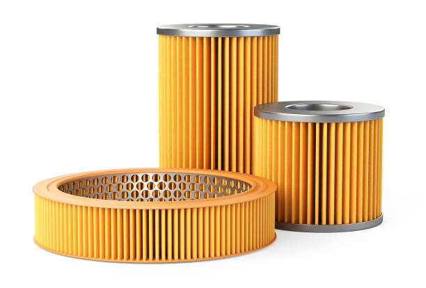 Car filters set, close-up 3d illustration. stock photo