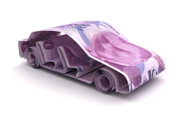 Car Finance With Turkish Lira stock photo