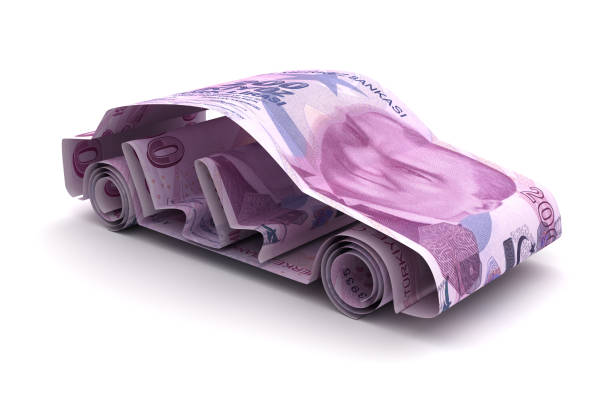 Car Finance With Turkish Lira stock photo