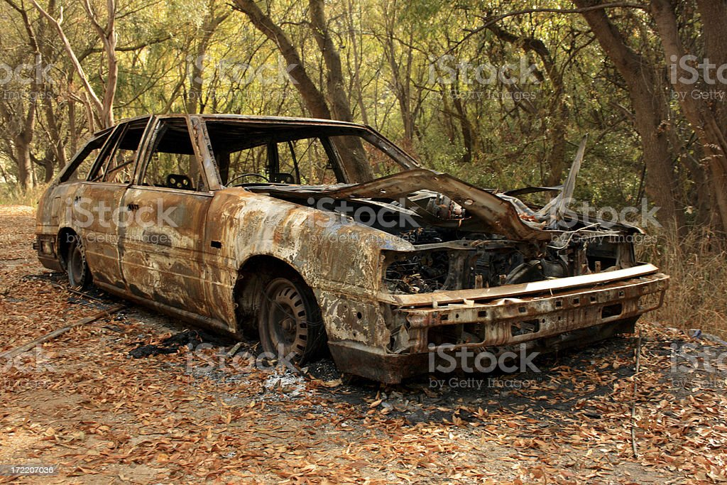 Car Fire - Aftermath royalty-free stock photo