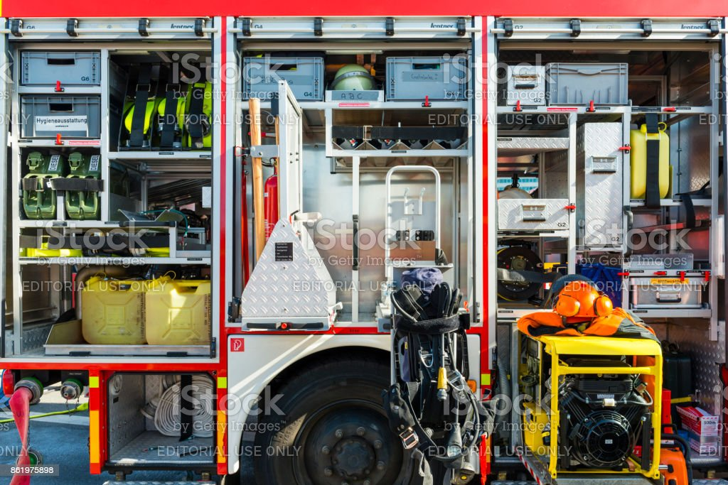 Rescue equipment in a german fire truck.