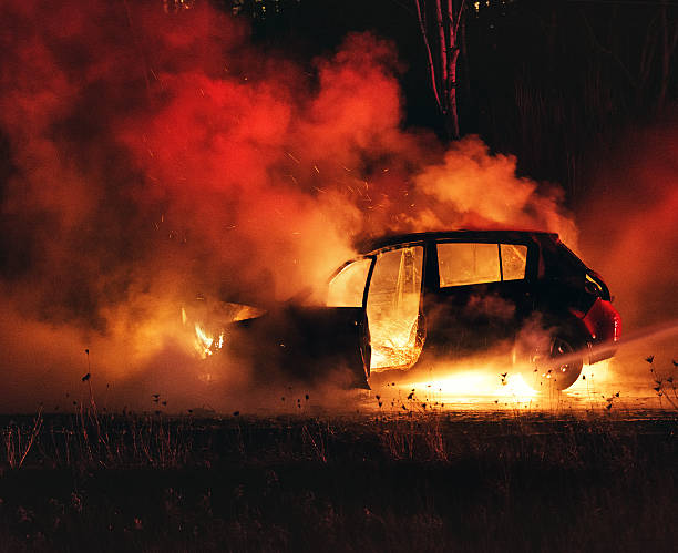car fire - burning stock pictures, royalty-free photos & images