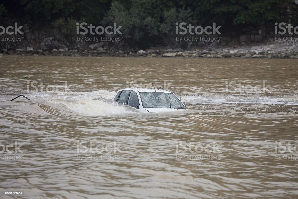 Car flooded in the Ocean stock photo