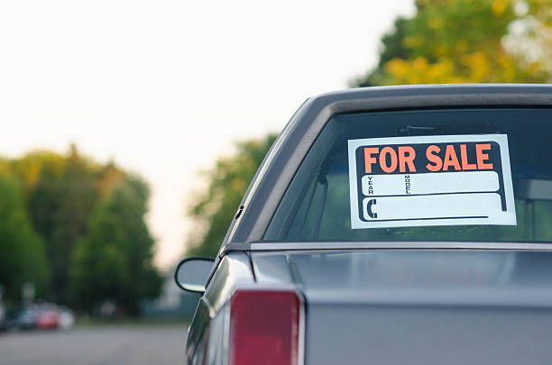 Car For Sale on Suburban Street stock photo