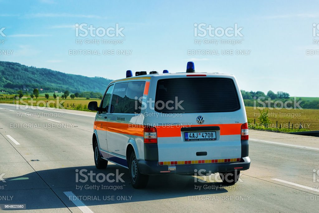 Car for transportation of patients road in Czech Republic Europe royalty-free stock photo